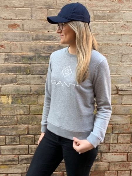 Gant Lock Up Crew Neck Sweat Grey Melange