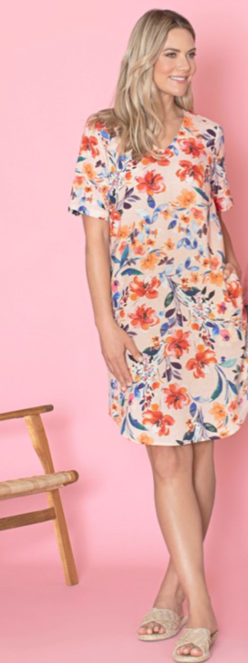 Jump Short Sleeve Spring Floral Shift Dress Multi