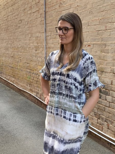 Ping Pong Short Sleeve Tie Dye Print Dress