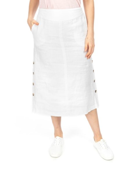 Jump Button Detail Linen Skirt White