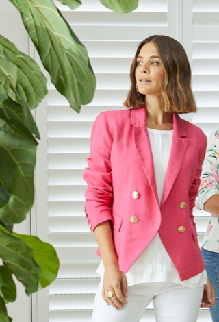 Ping Pong Linen Double Breasted Blazer Camelia