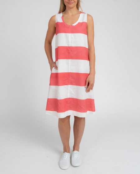 Jump Sleeveless Block Stripe Tie Back Dress White/ Sherbet