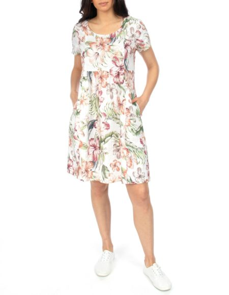 Jump Short Sleeve Tropical Spice Gather Front Dress
