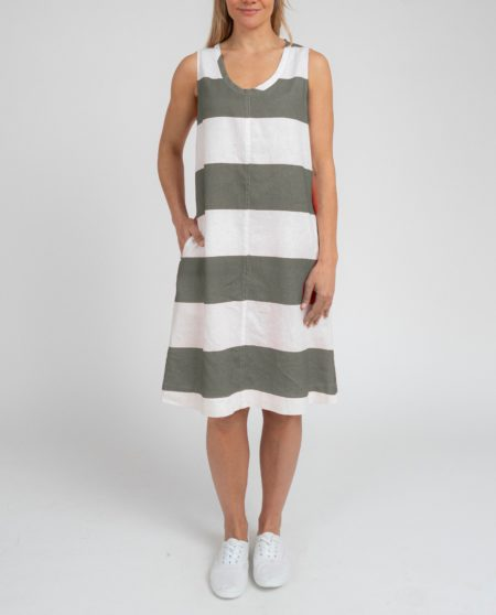 Jump Sleeveless Block Stripe Tie Back Dress White/ Dusty Olive