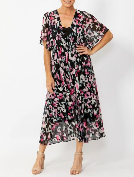 Ping Pong Shirred Waist Painterly Floral Dress