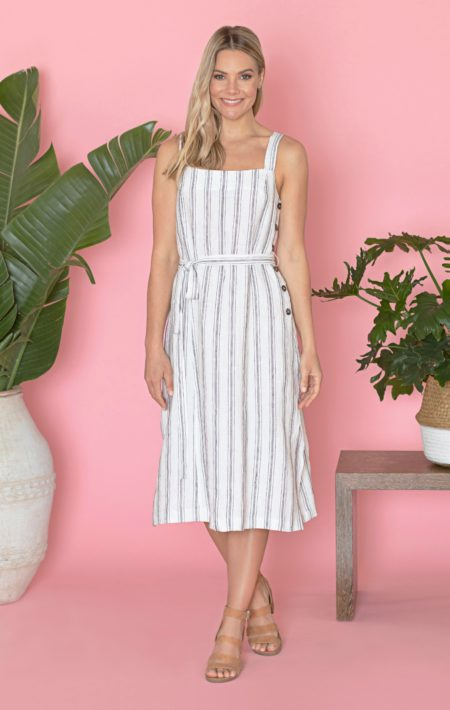 Jump Sleeveless Side Button Stripe Linen Dress
