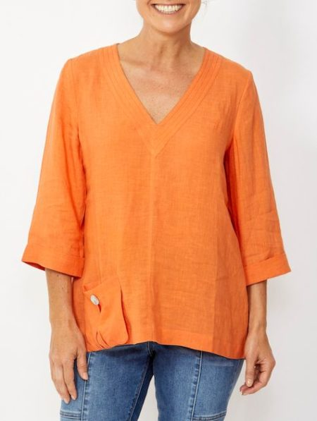 Ping Pong 3/4 Sleeve V-Neck Linen Top