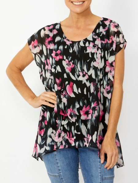 Ping Pong Painterly Floral Overlay Top