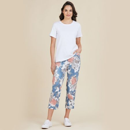 Threadz Printed Pants Pink/Blue Floral