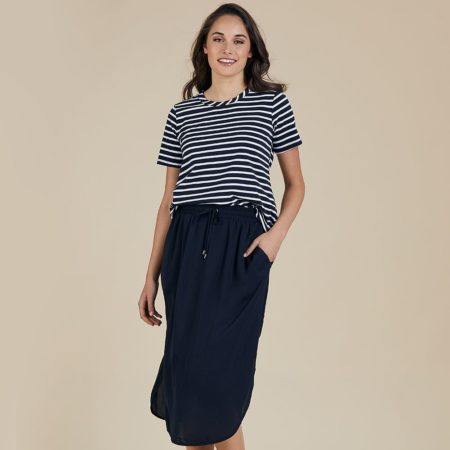 Threadz Basic Luxe Skirt Navy