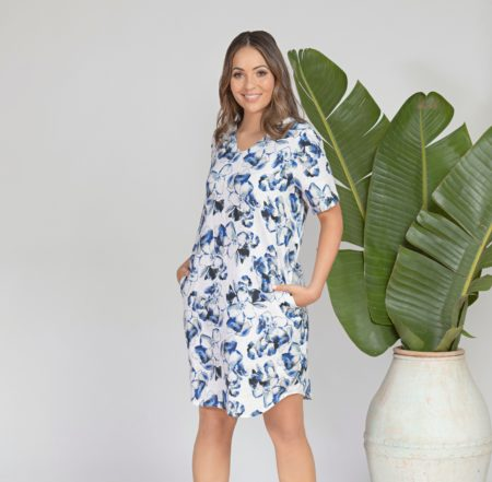 Jump Watercolour Floral Dress Blues