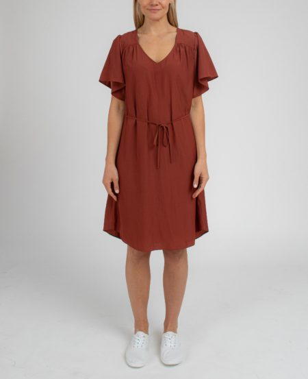 Jump Flutter Sleeve Bruised Polyester Dress Bronze