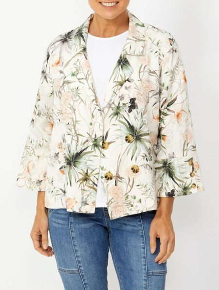 Ping Pong Botanical Print Double Breasted Jacket