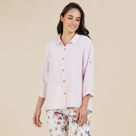 Threadz Textured Shirt Pale Pink