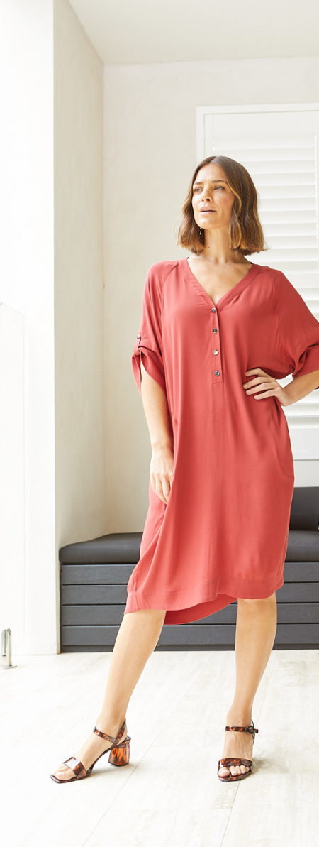 Ping Pong Short Sleeve Everyday Dress Red Earth