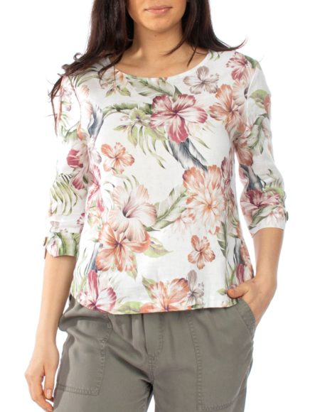 Jump Tropical Spice Drop Shoulder Top