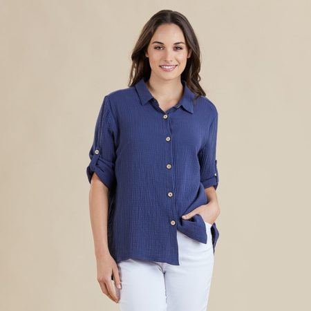 Threadz Textured Shirt Navy
