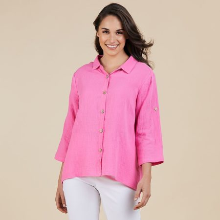 Threadz Textured Shirt Hot Pink