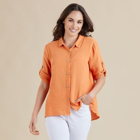 Threadz Textured Shirt Orange
