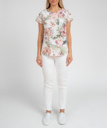 Jump Tropical Spice Button Back Top