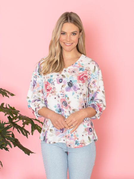 Jump 3/4 Sleeve Sherbet Poppy Print Top
