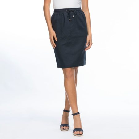 Gordon Smith Rib Waist Linen Skirt Navy