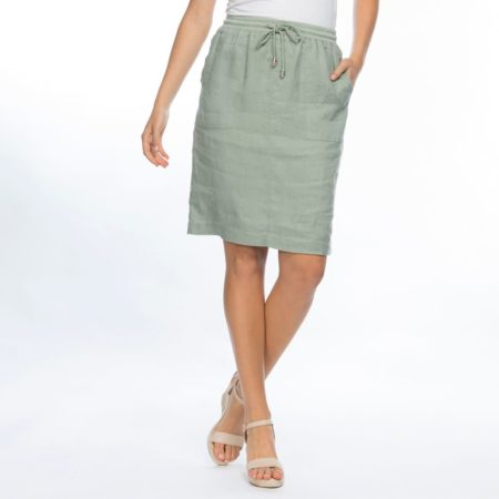 Gordon Smith Rib Waist Linen Skirt Khaki