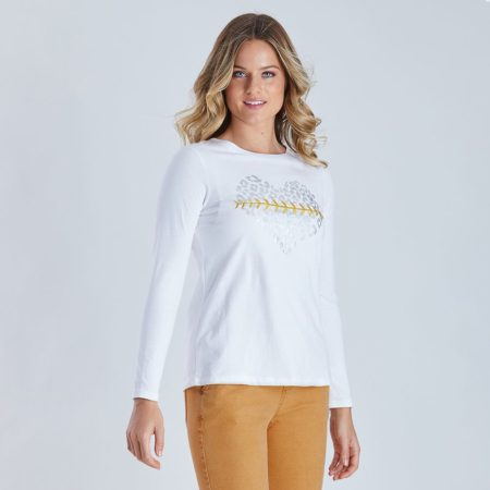 Threadz Foil Heart Print Tee White