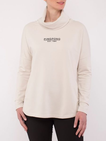 Ping Pong Cowl Neck Sweat Top Sand