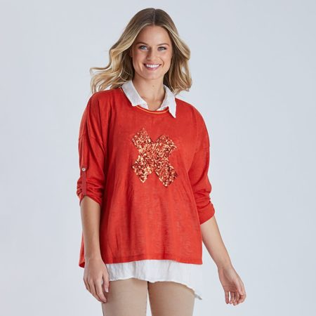 Threadz Sequin Cross 2-In-1 Top Orange