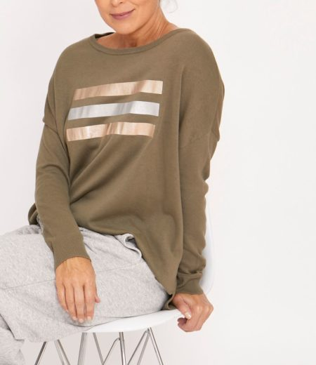 Ping Pong Foil Print Relaxed Pullover Khaki