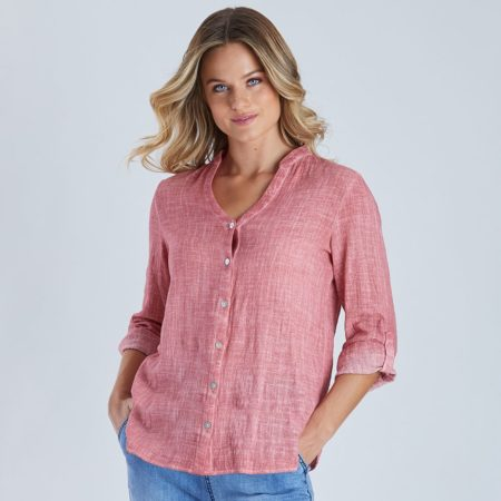 Threadz V Neck Cotton Shirt Raspberry