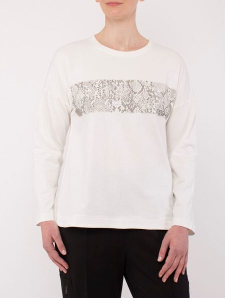 Ping Pong Printed Foil Sweat Top Ivory