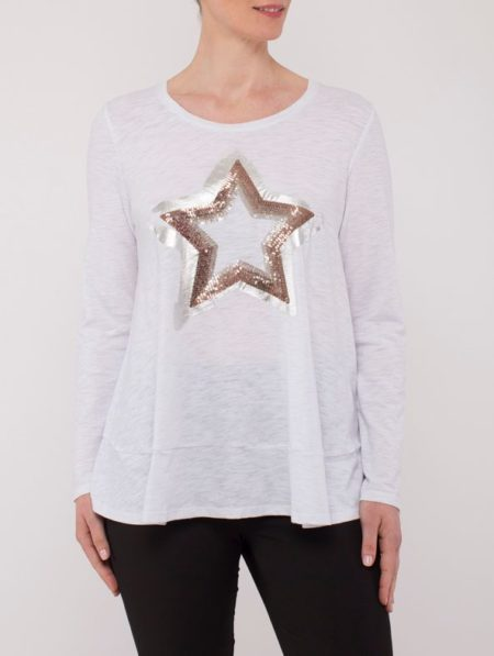 Ping Pong Sequin Star Long Sleeve Top White