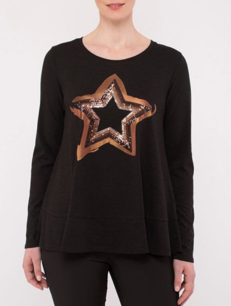 Ping Pong Sequin Star Long Sleeve Top Black