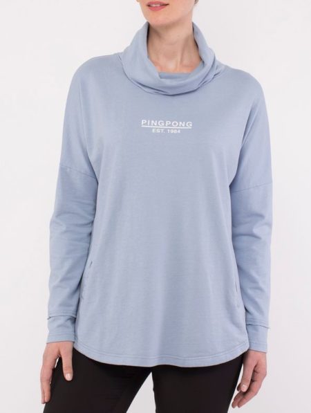 Ping Pong Cowl Neck Sweat Top Cornflower