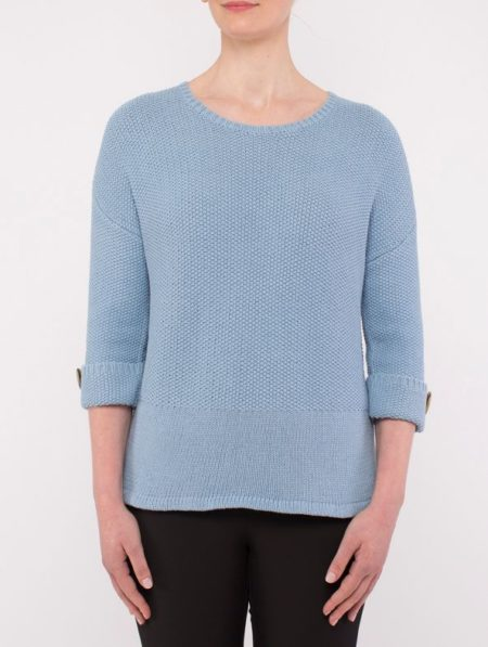 Ping Pong Textured Pullover Cornflower