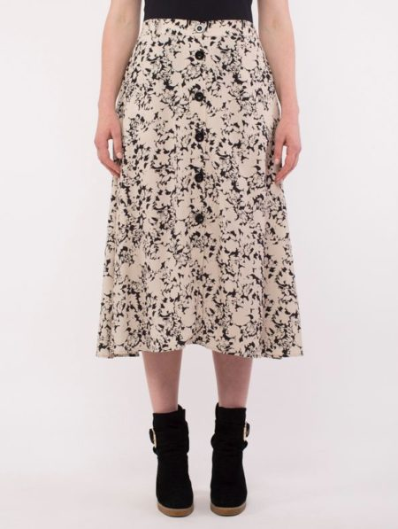 Ping Pong Mono Floral Button Front Skirt