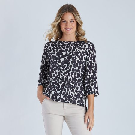 Threadz Print Top Black/Natural