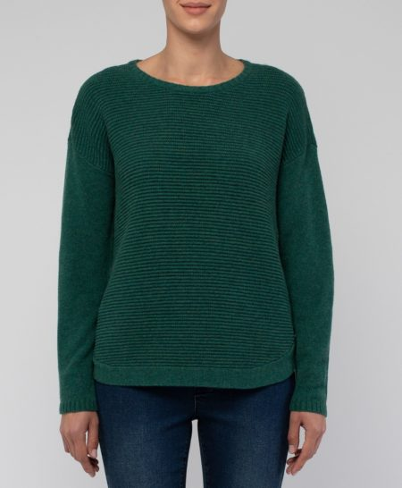 Jump Long Sleeved Rib Pullover with Side Buttons Emerald