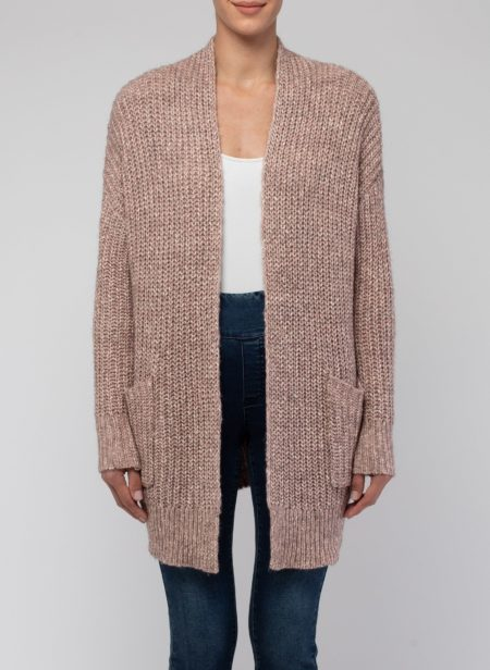 Jump Long Sleeved Ribbed Edge To Edge Cardi Pink Twist