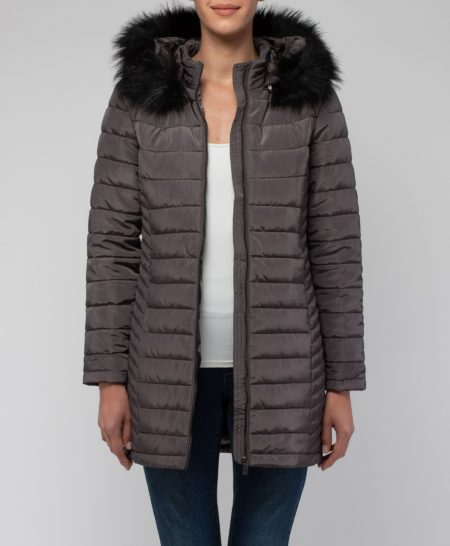 Jump Fur Trim Hooded Puffer Jacket Mocha