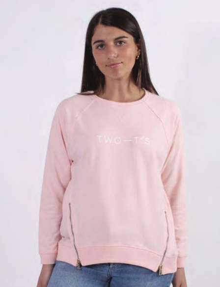 Two-T's Sweat Top Pale Pink