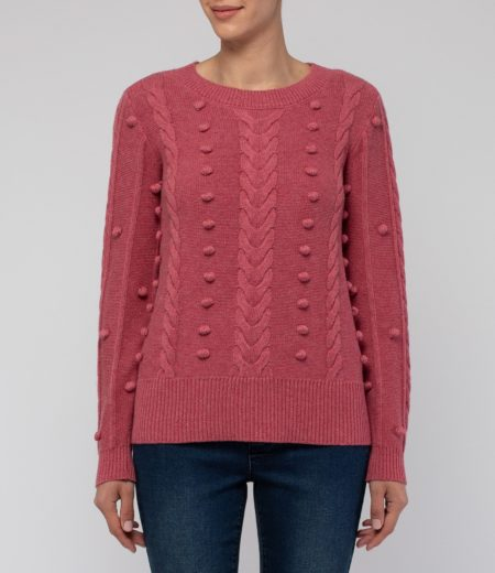 Jump Long Sleeve Cable and Bobble Pullover Rose