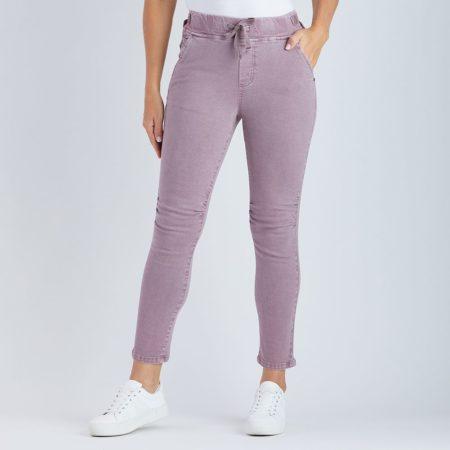 Threadz Tie Front Gathered Jeans Purple