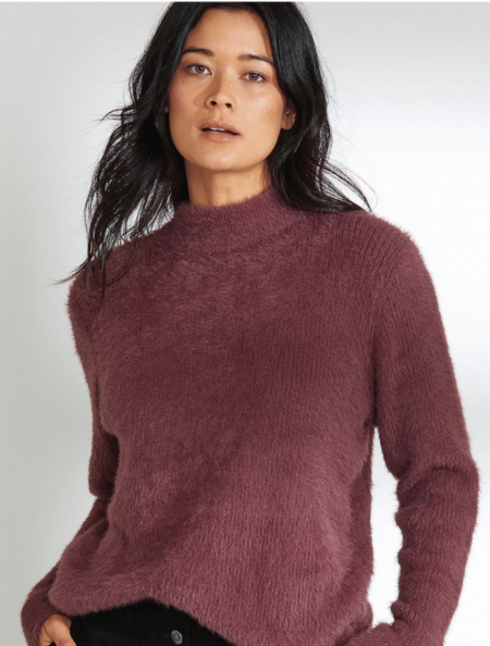 Marco Polo Long Sleeve Fluffy Sweater Mulberry
