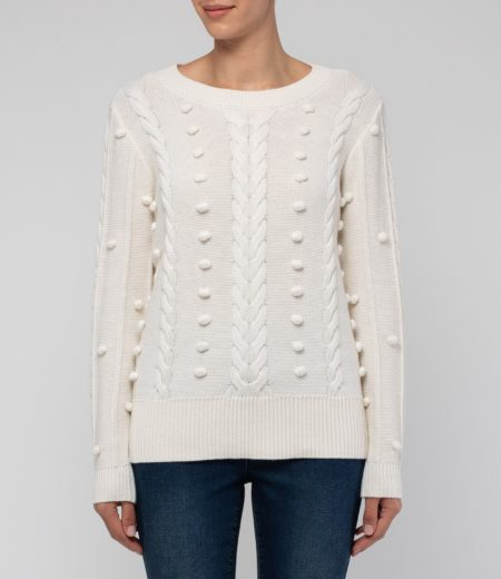 Jump Long Sleeve Cable and Bobble Pullover Cream
