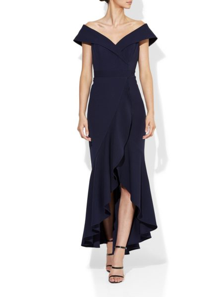 Montique Lola Navy Stretch Crepe Gown